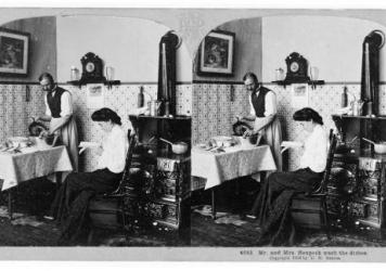 Mrs. and Mr. Henpeck get supper, on stereo card, circa 1903.