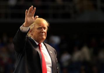 Republican presidential frontrunner Donald Trump at a rally in Biloxi, Mississippi.