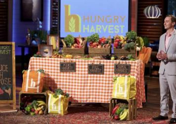 Evan Lutz of Maryland-based Hungry Harvest makes his pitch to the <em>Shark Tank</em> investors on Friday night's episode. The company rescues ugly and surplus produce that might otherwise have landed in the landfill, and sells it to subscribers instead.
