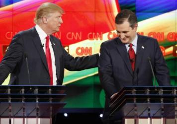 "Donald Trump (left) and Ted Cruz joke about Trump's comments that Cruz was a ""maniac"" and didn't have the right temperament to be president. They played nice then, but will they again?"