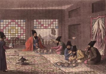 Persian men kneel on the floor to enjoy breakfast in an illustration by James Morier, published in 1818. Because of Iran's strategic position on the ancient Silk Road, Persian culture was disseminated far and wide. There's no better evidence of this than the imprimatur of the Persian language on the nomenclature of food.
