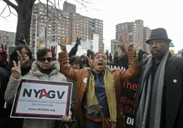 Members of New Yorkers Against Gun Violence and the National Action Network march against gun violence on the streets of New York in 2012.