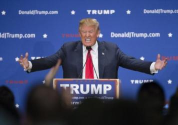 Republican presidential candidate Donald Trump speaks during a campaign stop Monday at Farmington High School in New Hampshire.