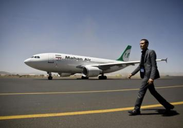 The Iranian private airline Mahan Air uses Airbus planes, like the one pictured here at Yemen's Sanaa airport in 2015. Tehran is in talks with Airbus to buy more than 100 additional passenger planes.