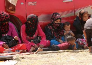 Iraqi families displaced from the areas of Hawija and Hamrin in northern Iraq traveled to Kirkuk governorate in search of safety, on Aug. 31, 2015. Thousands continue to flee ISIS-held areas.