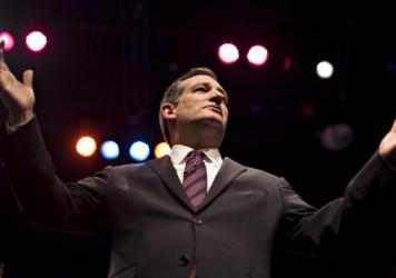 Sen. Ted Cruz, R-Texas, speaks during the 2015 Iowa Faith & Freedom Coalition presidential forum. He's made religion a central tenet of his campaign.