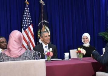 President Obama participates in a roundtable discussion with members of the Muslim community Wednesday while visiting the Islamic Society of Baltimore in Windsor Mill, Md.