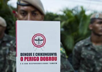 Brazilian soldiers prepare for an operation to fight the <em>Aedes aegypti</em> mosquito, vector of the Zika, Dengue and Chikungunya viruses, in Sao Paulo, Brazil on February 3. The operation on Saturday will include 220,000 soldiers passing out pamphlets; they hope to reach 3 million homes.