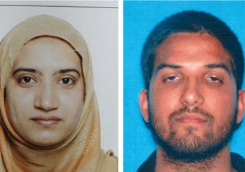 Tashfeen Malik (left) and Syed Farook died in a gunbattle with police after the couple attacked a gathering of Farook's colleagues, killing 14.