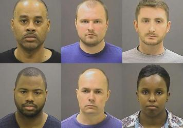 This photo from the Baltimore Police Department shows the six police officers charged with felonies ranging from assault to murder in the death of Freddie Gray. Top row from left: Caesar R. Goodson Jr., Garrett E. Miller and Edward M. Nero. Bottom row fr