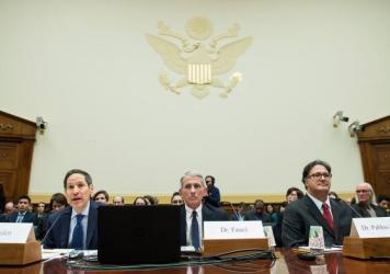 Dr. Tom Frieden (left), director of the Centers for Disease Control and Prevention, testifies about Zika virus with Dr. Anthony Fauci (center), director of the National Institute of Allergy and Infectious Diseases, and Dr. Ariel Pablos-Mendez, assistant
