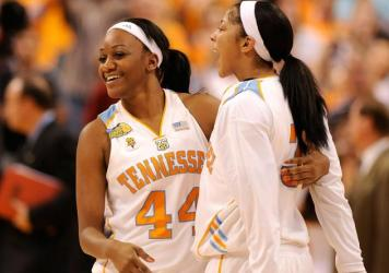 Alex Fuller (left) and Candace Parker of the Tennessee Lady Volunteers celebrate their 64-48 win against Stanford in the 2008 National Championship Game.