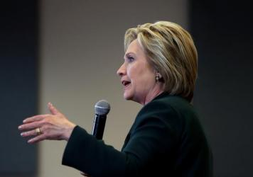 Democratic presidential candidate Hillary Clinton speaks at a Las Vegas high school last Friday.