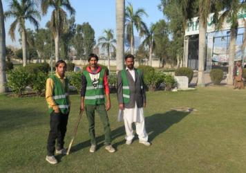 These guards patrol a park in the Pakistani city of Gujranwala to make sure there's no sexual harassment of women. If they have to, they'll deliver a sharp tap to an offender with that stick. Left to right: Mohammed Sayed, Mohammed Faisal and Amir Hussein.