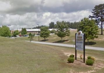 An entrance to Union High School in South Carolina, where a student reportedly took a photo of a racy image on a teacher's cellphone.