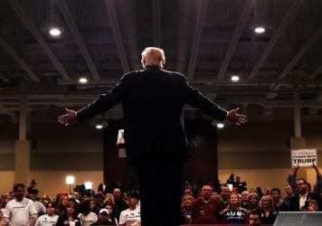 Donald Trump addresses a crowd in South Carolina. Trump has the clearest path to the GOP nomination, but Republicans opposed to him aren't giving up the fight.