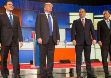 Presidential candidates (left-right) Marco Rubio, Donald Trump, Ted Cruz and John Kasich at last week's Republican presidential debate.