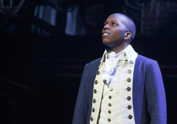 Leslie Odom Jr. as Aaron Burr in the Broadway musical <em>Hamilton. </em>
