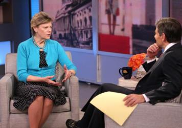 Cokie Roberts talks about her book <em>Capital Dames</em> on ABC's <em>Good Morning America</em> with George Stephanopoulos last April. Roberts left her position as a full-time staffer at NPR in 1992 but has regularly appeared on the air as a commentator