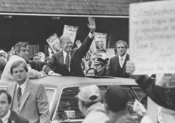 Presidential candidates have been coming to Youngstown, Ohio, for nearly four decades to call attention to job losses. President Jimmy Carter campaigns there in 1980.