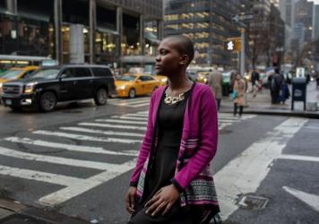 Miamah Grace Kannah, 18. from Monrovia, Liberia, poses for a portrait during her visit to New York City on March 14.