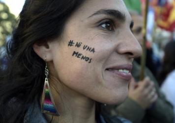 """A woman participates in the demonstration """"Ni una menos"""" (Not One Less) against violence against women in Buenos Aires, on June 3, 2015."""