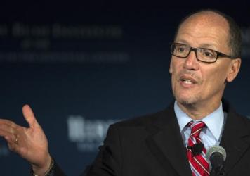 "Labor Secretary Thomas Perez, pictured in 2015, says, ""If you get hurt on [the] job, you still should be able to put food on the table, and these laws are really undermining that basic bargain."""