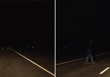 """Do you see the deer? A Honda Accord four-door with halogen lights (left) was found to have """"acceptable"""" lights, while the Mercedes-Benz C-Class, also with halogen, was given a """"poor"""" rating, based in part on how well each car lit objects on a straight se"""