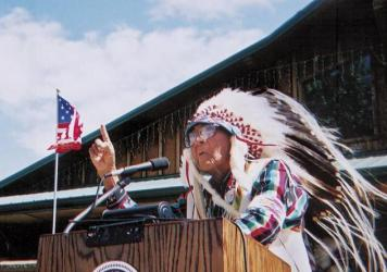 "Crow tribal historian Joe Medicine Crow speaks of unity in 2001 at a dedication of a ""Peace Memorial,"" near the site of the Battle of Little Bighorn."