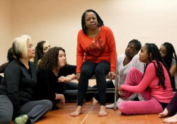 "Performers with the theater company rehearse in San Francisco. The Media Project, founded more than two decades ago, melds personal stories with Greek, Roman and African myths to introduce ""the universality of all of our stories,"" says Rhodessa Jones, fo"