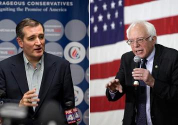 Republican Ted Cruz (left) addresses the media after a campaign rally earlier this month in Kansas City, Mo.; Democrat Bernie Sanders speaks at a town hall event last week in Milwaukee. Polls ahead of Tuesday's Wisconsin primary contests gave Cruz and Sa