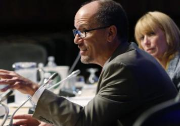 "Labor Secretary Tom Perez speaks at a governors meeting in July. Under current rules, advisers ""say things like 'we put our clients first,' "" Perez said this week. Going forward, ""this is no longer a slogan. It's the law."""