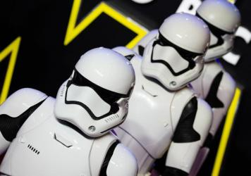 Stormtroopers attend the European premiere of <em>Star Wars: The Force Awakens</em> at Leicester Square on Dec. 16 in London.