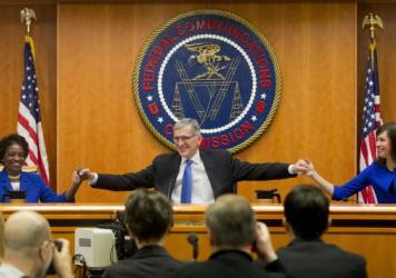 "The Democratic majority of the Federal Communications Commission voted to approve new ""net neutrality"" rules in February 2015, prompting a court challenge from Internet providers."