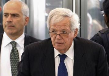 "Former House Speaker Dennis Hastert arrives at the federal courthouse in Chicago for his June 9 arraignment for allegedly paying $3.5 million to ""compensate for and conceal his prior misconduct against Individual A."""