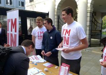 Volunteers who favor keeping Britain in the EU - the 'Stronger In' campaign - hand out leaflets in front of Gibraltar's parliament. Britain votes on June 23, and residents of Gibraltar, a peninusla on the southern tip of Spain, have a large stake in the outcome.