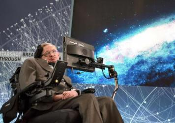 "Stephen Hawking discusses the ""Breakthrough Starshot"" space exploration initiative during a news conference Tuesday at One World Observatory in New York City."