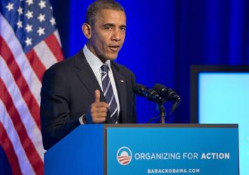 """""""I may hold this office for another 14 months. But I'm not going anywhere,"""" President Obama told Organizing for Action last November in Washington D.C."""