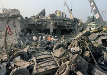 Rescuers search through the rubble of the U.S. Marine barracks Oct. 23, 1983, in Beirut, Lebanon, after a suicide truck bombing. The blast — the single deadliest attack on U.S. forces abroad since World War II — killed 241 American service members. T