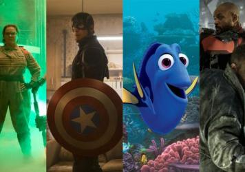 Left to right: Melissa McCarthy in <em>Ghostbusters,</em> Chris Evans in <em>Captain America: Civil War,</em> Ellen DeGeneres in <em>Finding Dory,</em> Will Smith and Jai Courtney in <em>Suicide Squad</em>.