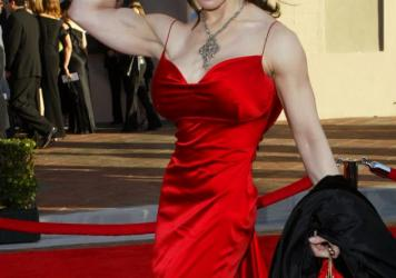 Joanie Laurer, who wrestled under the name Chyna, died Wednesday. She's seen here in 2003, arriving at the American Music Awards in Los Angeles.