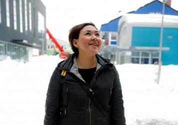 "Greenland native Nina-Vivi Andersen visits the old town of Kangeq, off the coast of Greenland's capital Nuuk. She has her own perspective on the word Eskimo: ""I don't mind to be called Eskimo — it is neutral for me. But when I saw an ice cream store in"