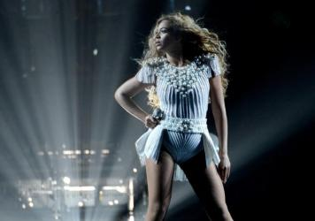 "Beyonce performs onstage during ""The Mrs. Carter Show World Tour"" in Los Angeles."