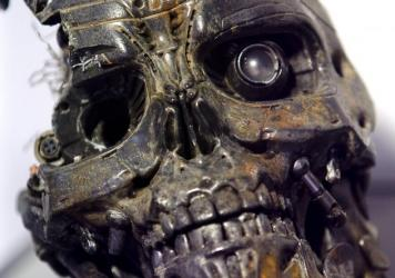 The robotic skull of a T-600 cyborg used in the movie <em>Terminator 3</em>.