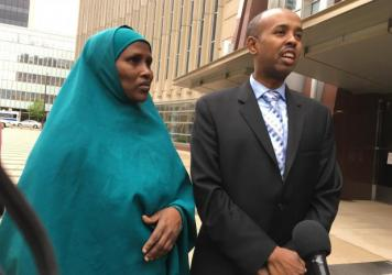 """Three Somali-American men accused of plotting to join the Islamic State are on trial in Minneapolis. Fadumo Hussein (left) is the stepsister who reared one of the defendants, Guled Omar. She calls him her son and says, """"we are not terrorists."""" Sadik Warf"""