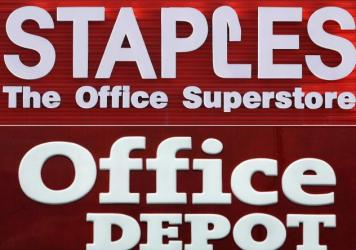 "A federal judge blocked the merger of Staples and Home Depot, saying Tuesday that the government had made the case that the merger had a ""reasonable probability"" of hurting competition in office supplies."