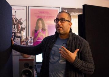 Mendez reads from a <em>Jane the Virgin </em>script in his bedroom recording studio. He records his voice-overs mostly from his home.