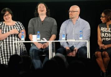 Linda Holmes, Stephen Thompson, Glen Weldon, and Audie Cornish speak onstage during NPR's Pop Culture Happy Hour podcast in the Vulture Festival on May 22, 2016 in New York City.