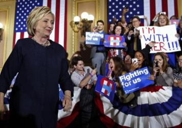 Democratic presidential candidate Hillary Clinton at a rally Thursday in San Francisco.