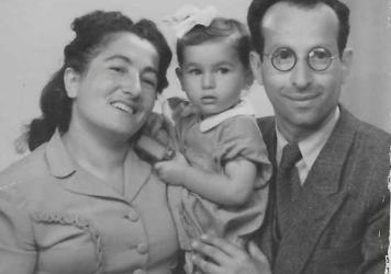 Guta and Mayer Rak with their daughter, Eda, in 1947. Eda was born in Lodz, Poland, when the Raks briefly returned to their home country after the end of World War II.